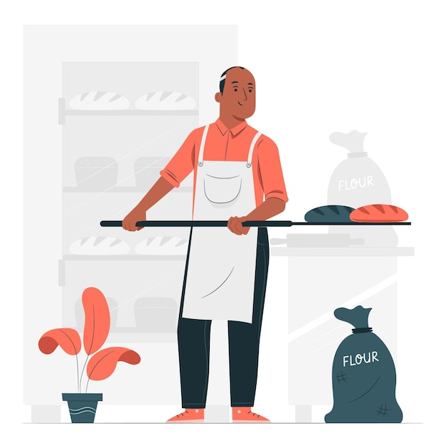 Illustration De Concept De Boulanger Vecteur gratuit