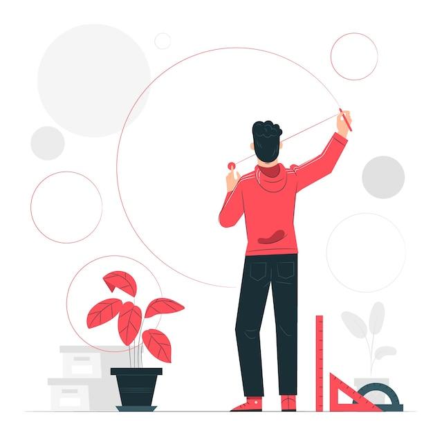 Illustration De Concept De Cercles Vecteur gratuit