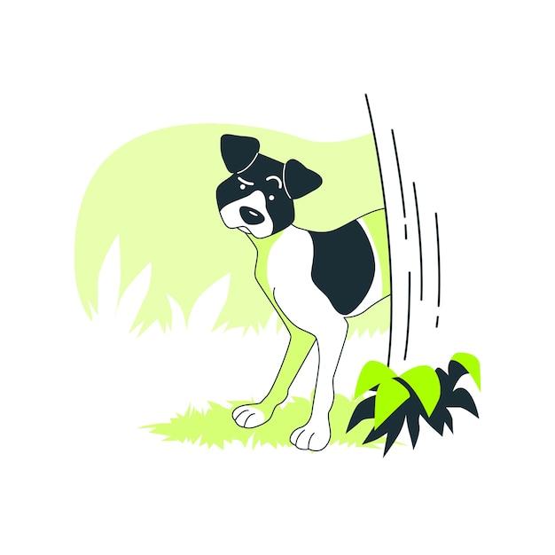 Illustration de concept de chien prudent Vecteur gratuit