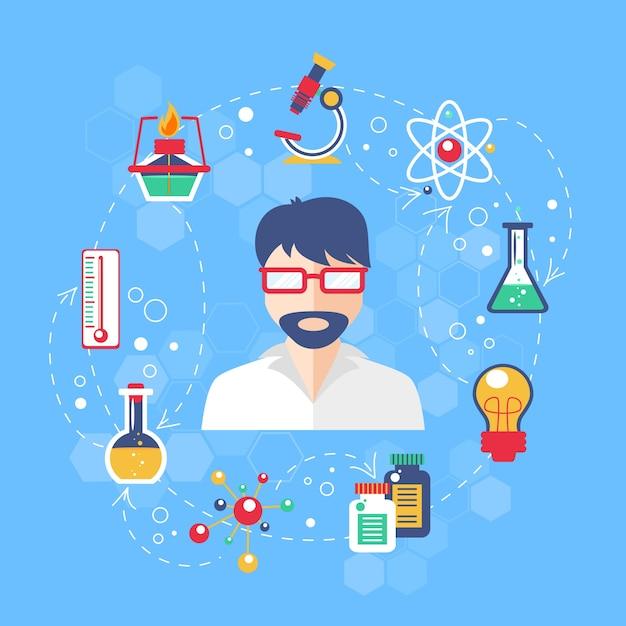 Illustration de concept de chimie Vecteur gratuit