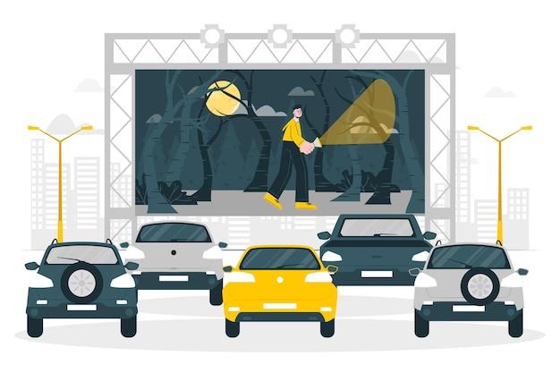 Illustration De Concept De Cinéma Drive-in Vecteur gratuit