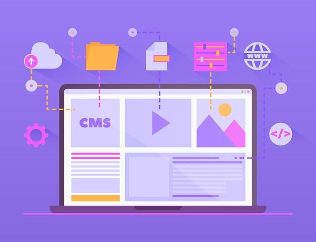 Illustration De Concept De Cms Plat Vecteur Premium
