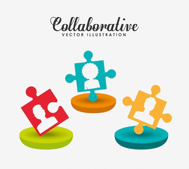 Illustration de concept collaboratif Vecteur gratuit