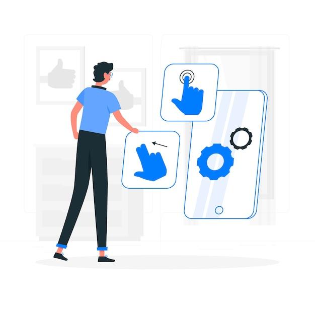 Illustration De Concept De Conception D'interaction Vecteur gratuit