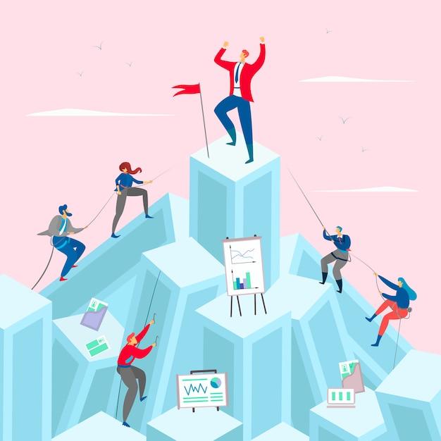 Illustration De Concept De Concurrence Commerciale. Homme D'affaires Au Sommet Pf La Montagne. Des Hommes D'affaires Compétitifs Montent. Vecteur Premium