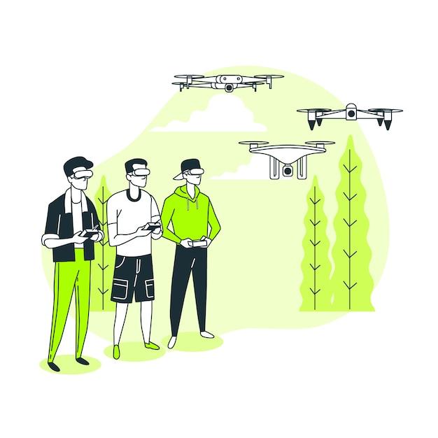 Illustration De Concept De Course De Drone Vecteur gratuit