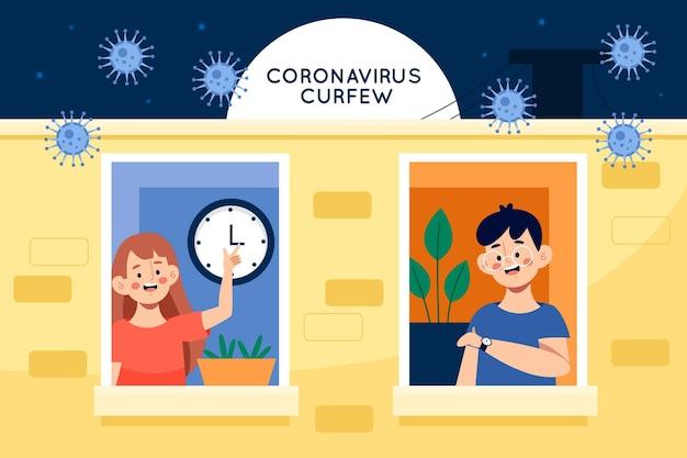 Illustration De Concept De Couvre-feu De Coronavirus Vecteur gratuit