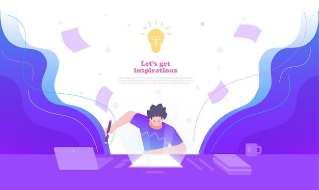 Illustration De Concept De Créativité, D'idée Et D'inspiration. Illustration D'une Personne Excitée Et Booster Son Travail Vecteur Premium