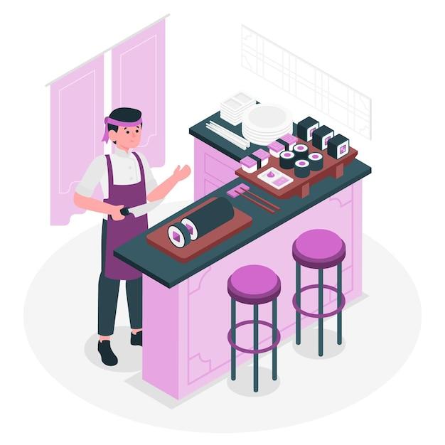 Illustration De Concept De Cuisinier Sushi Vecteur gratuit