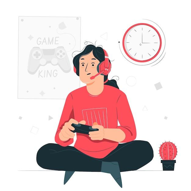 Illustration De Concept De Dépendance Aux Jeux En Ligne Vecteur gratuit