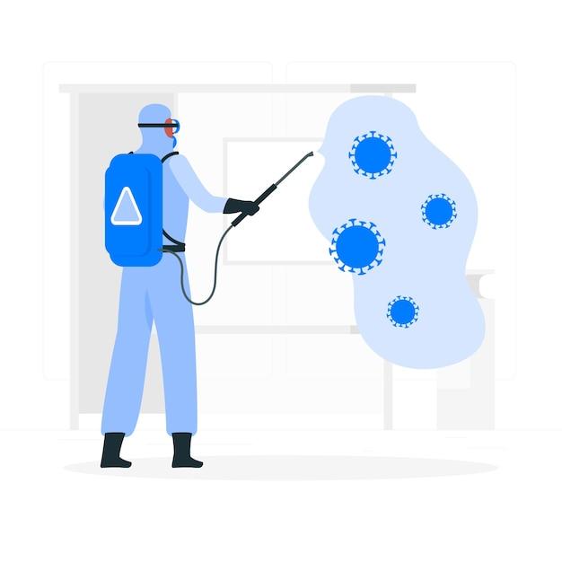 Illustration De Concept De Désinfection Par Virus Vecteur gratuit