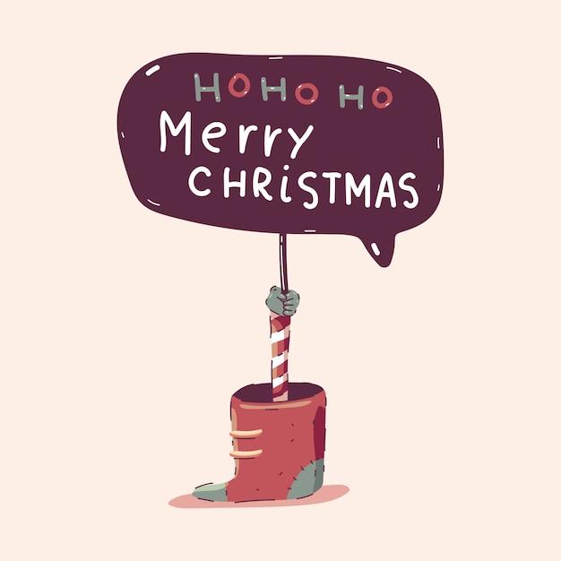 Illustration De Concept De Dessin Animé Joyeux Noël Conseil Isolé Sur Fond. Vecteur Premium