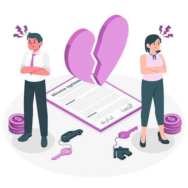 Illustration De Concept De Divorce Vecteur gratuit