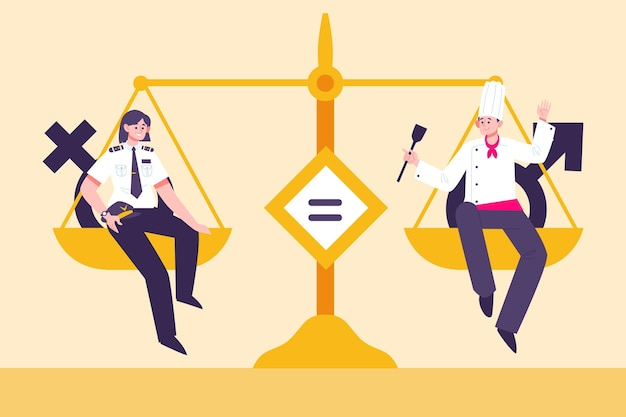 Illustration De Concept D'égalité Des Sexes Avec échelle Vecteur gratuit