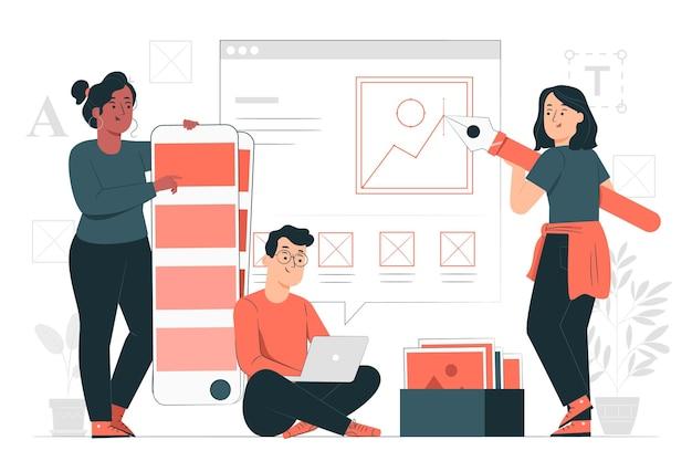 Illustration De Concept D'équipe De Conception Vecteur gratuit