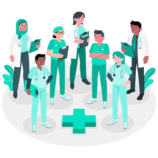 Illustration De Concept D'équipe Professionnelle De La Santé Vecteur gratuit