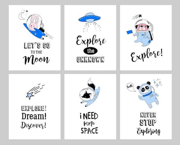 Illustration De Concept De L'espace Extra-atmosphérique. Astronautes Animaux Mignons Dans Des Casques Vecteur Premium
