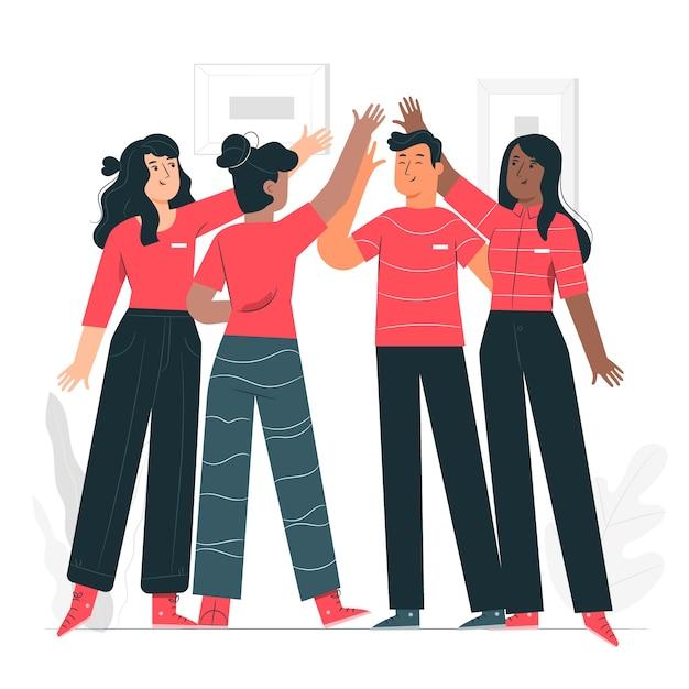 Illustration De Concept D'esprit D'équipe Vecteur gratuit