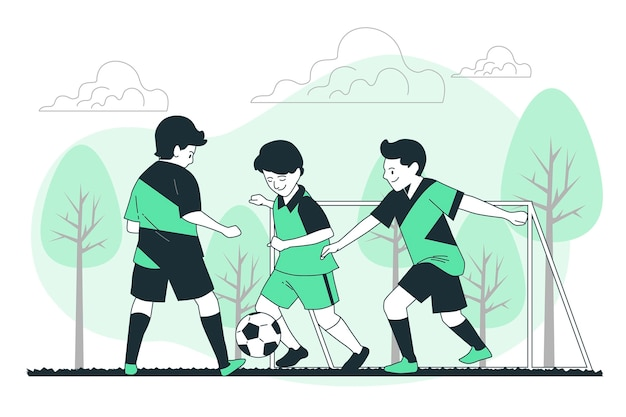 Illustration De Concept De Football Junior Vecteur gratuit