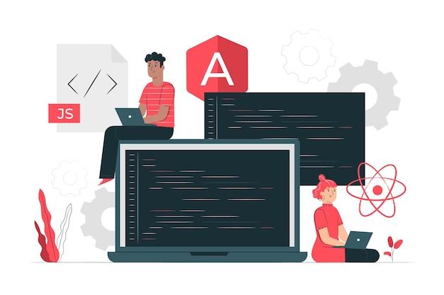 Illustration De Concept De Framework Javascript Vecteur gratuit