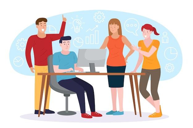 Illustration Avec Le Concept De Gens D'affaires Vecteur gratuit