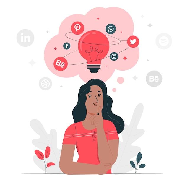 Illustration De Concept D'idées Sociales Vecteur gratuit