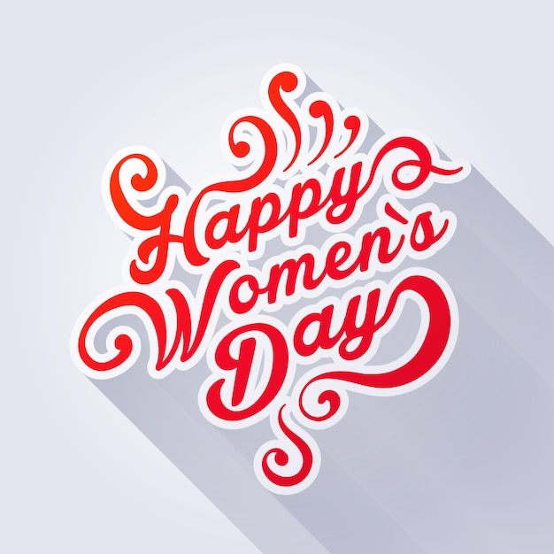 Illustration de concept où il est écrit happy womens day. Vecteur Premium