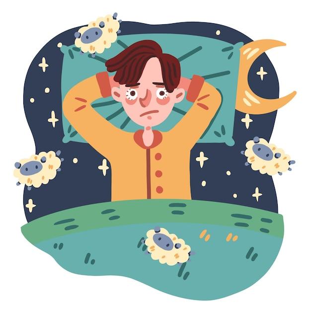 Illustration De Concept D'insomnie Vecteur gratuit