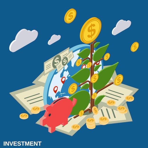Illustration de concept investissement vecteur isométrique plat Vecteur Premium