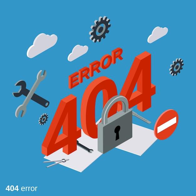 Illustration De Concept Isométrique Plat 404 Page D'erreur Vecteur Premium
