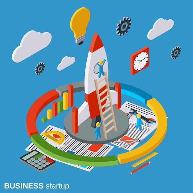 Illustration de concept isométrique plat de démarrage entreprise Vecteur Premium