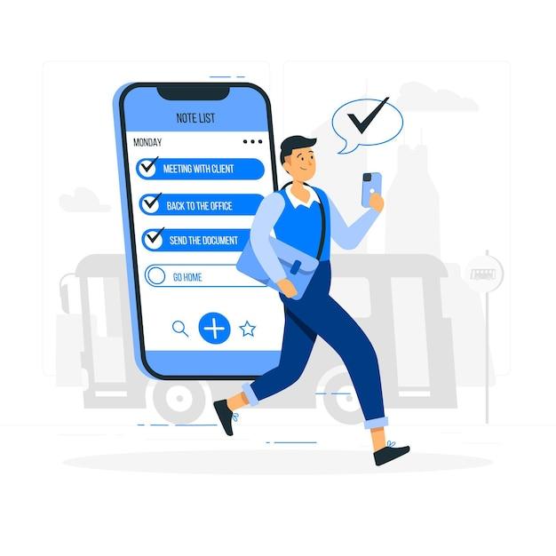 Illustration De Concept De Liste De Notes Mobiles Vecteur gratuit