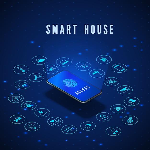 Illustration De Concept De Maison Intelligente Ou Iot Vecteur Premium