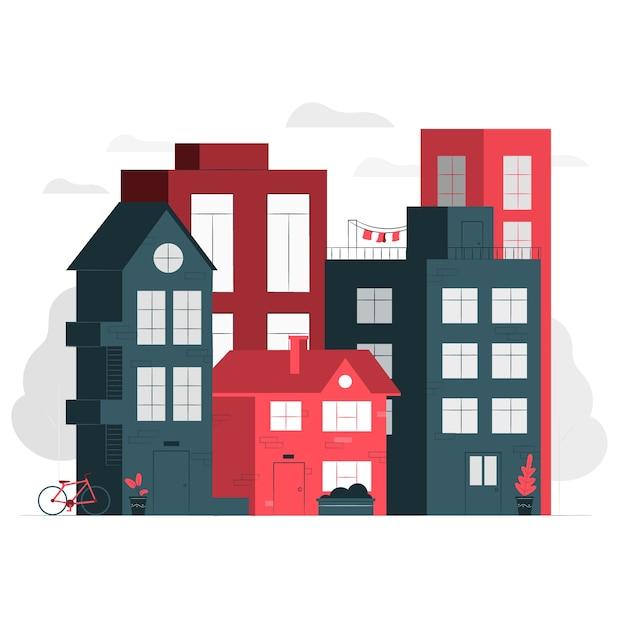Illustration De Concept De Maisons Vecteur gratuit