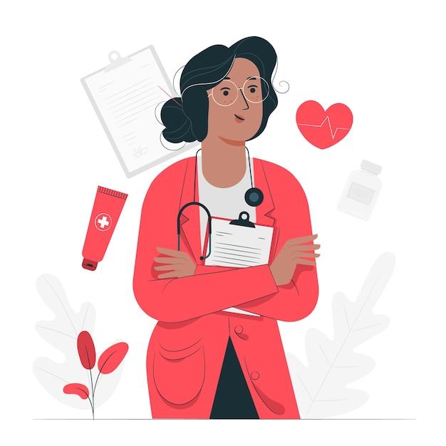 Illustration De Concept De Médecin Vecteur gratuit