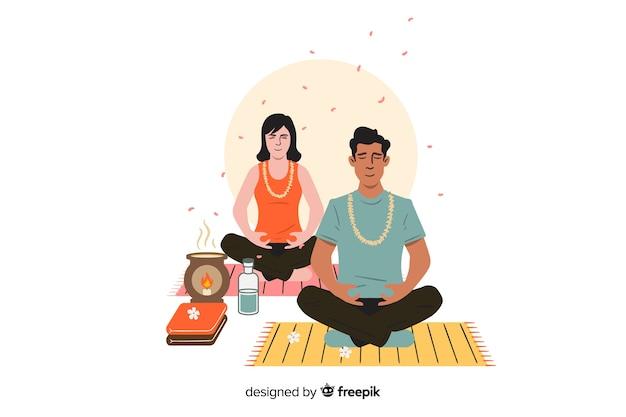 Illustration De Concept De Méditation Vecteur gratuit