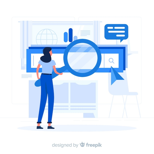 Illustration de concept de moteurs de recherche Vecteur gratuit