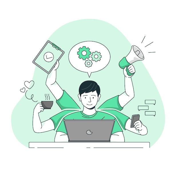 Illustration De Concept Multitâche Vecteur gratuit