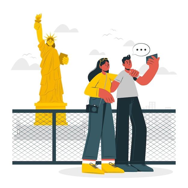Illustration De Concept De New York Vecteur gratuit