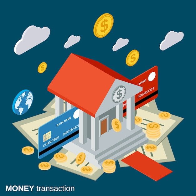 Illustration de concept plat isométrique de transaction d'argent Vecteur Premium