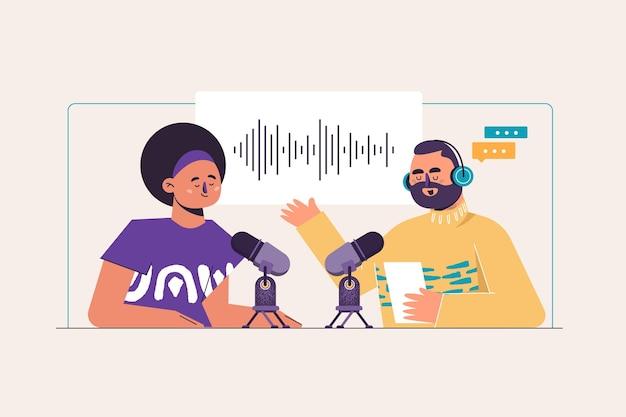 Illustration De Concept De Podcast Vecteur gratuit