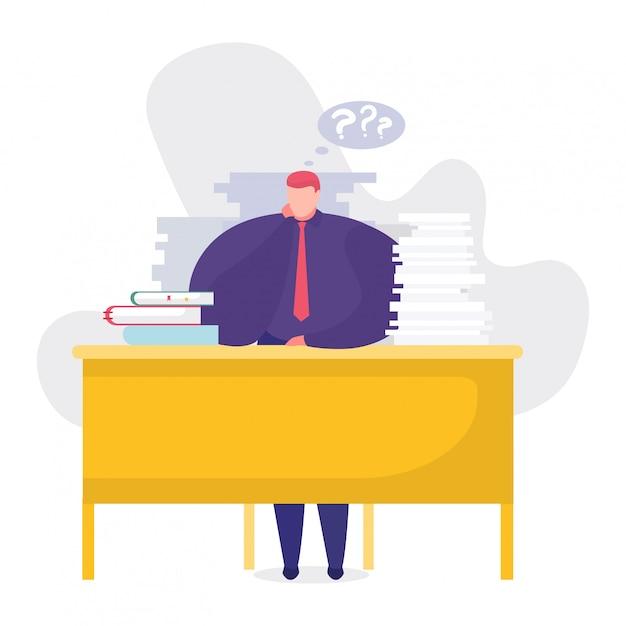Illustration De Concept De Problèmes De Travail, Homme D'affaires De Dessin Animé Assis à Table, Réfléchissant à La Tâche Sur Blanc Vecteur Premium