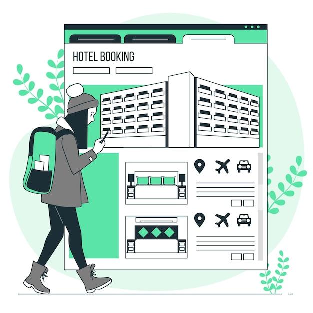 Illustration De Concept De Réservation D'hôtel Vecteur gratuit