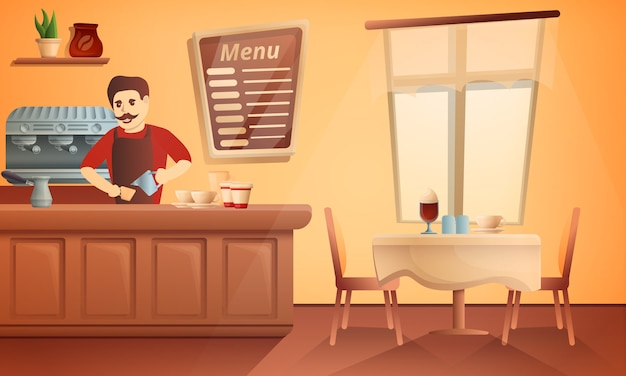 Illustration de concept de restaurant barista, style cartoon Vecteur Premium