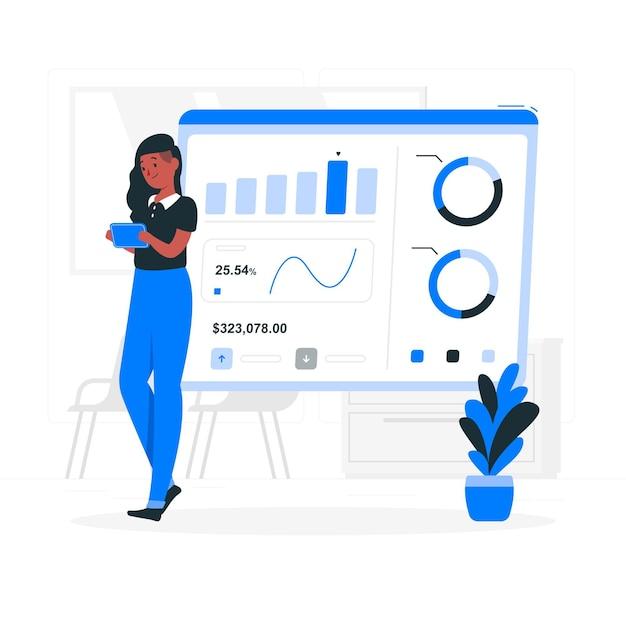 Illustration De Concept De Statistiques De Conception Vecteur gratuit