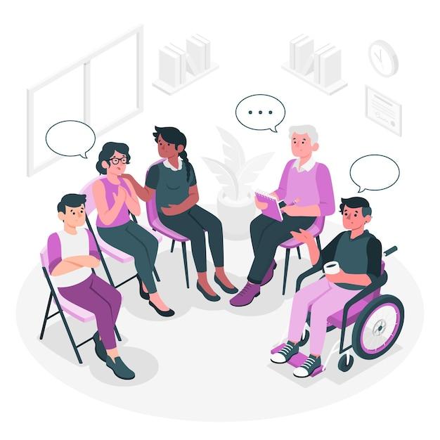 Illustration De Concept De Thérapie De Groupe Vecteur gratuit