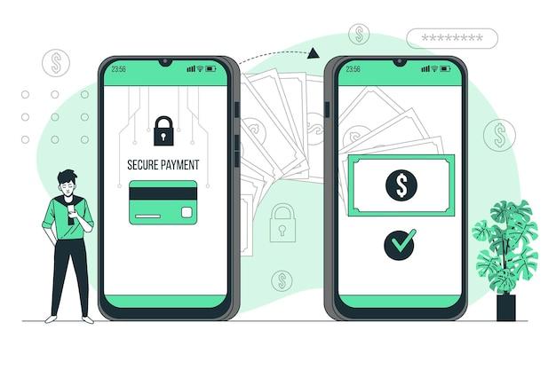 Illustration De Concept De Transactions En Ligne Vecteur gratuit