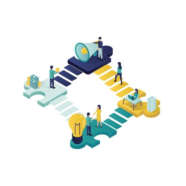 Illustration de concept de travail d'équipe concept illustration isométrique coopération partenariat dans un style isométrique. Vecteur Premium