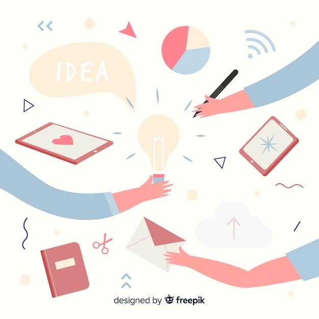 Illustration De Concept De Travail D'équipe De Conception Graphique Vecteur gratuit