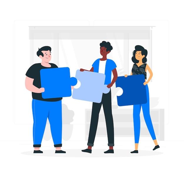 Illustration De Concept De Travail D'équipe Vecteur gratuit